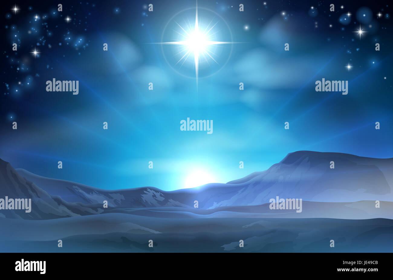 Christmas Nativity Star of Bethlehem illustration of the star over