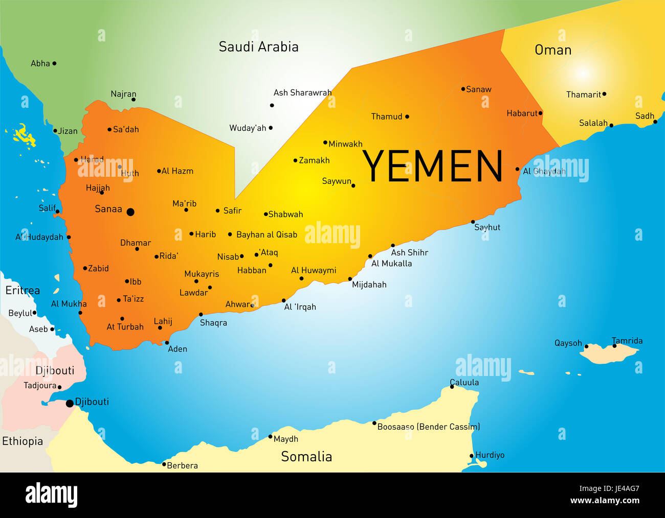 Vector color map of Yemen Stock Photo Royalty Free Image 146384231