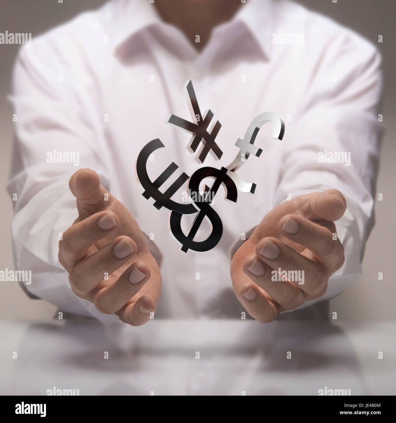 Man hands holding currencies symbols currency exchange service man hands holding currencies symbols currency exchange service concept biocorpaavc Images
