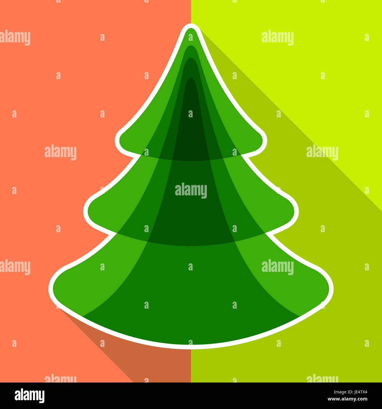 flat christmas tree color greeting card for your design , vector eps ...