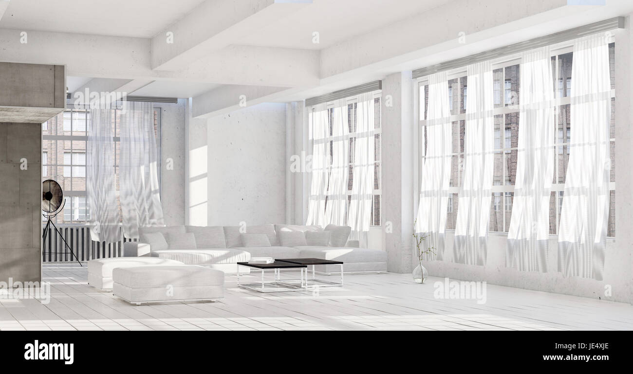 Bright White High Key Luxury Living Room Interior With Rows Of Windows And Painted Floorboards A Modular Couch Ottomans Around Coffee Table