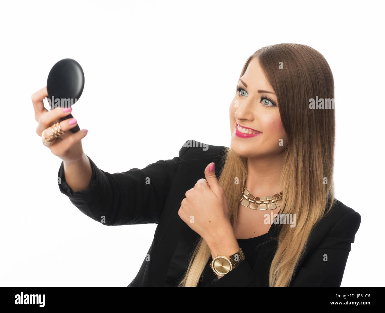woman holding hand mirror. Woman Holding Hand Mirror I