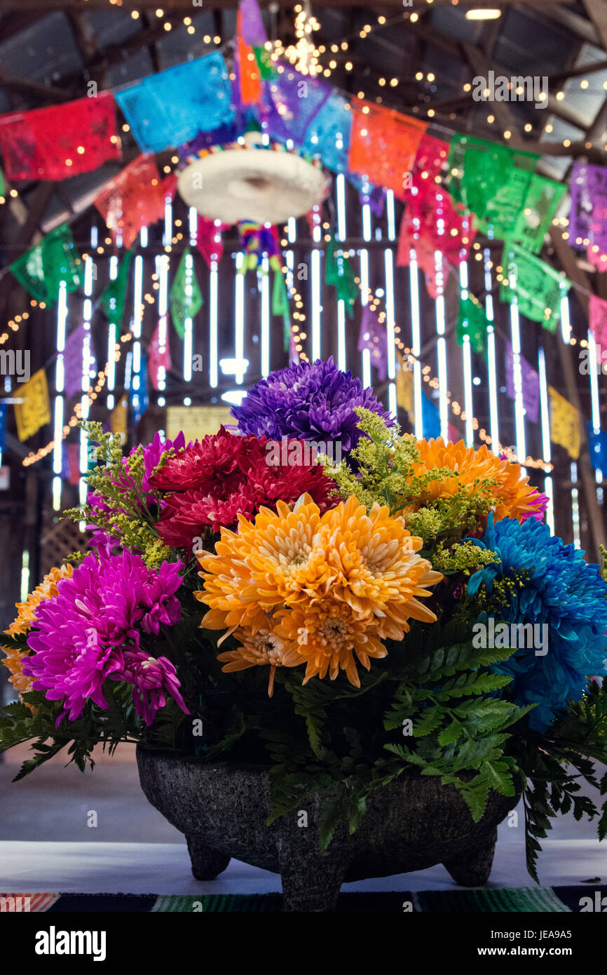 Rustic Mexican Wedding With Floral Arrangement In Salsa Bowl