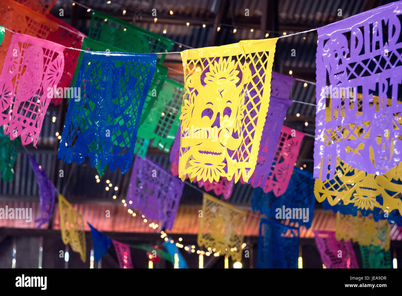 Dia De Los Muertos Flags At Rustic Mexican Wedding In Barn