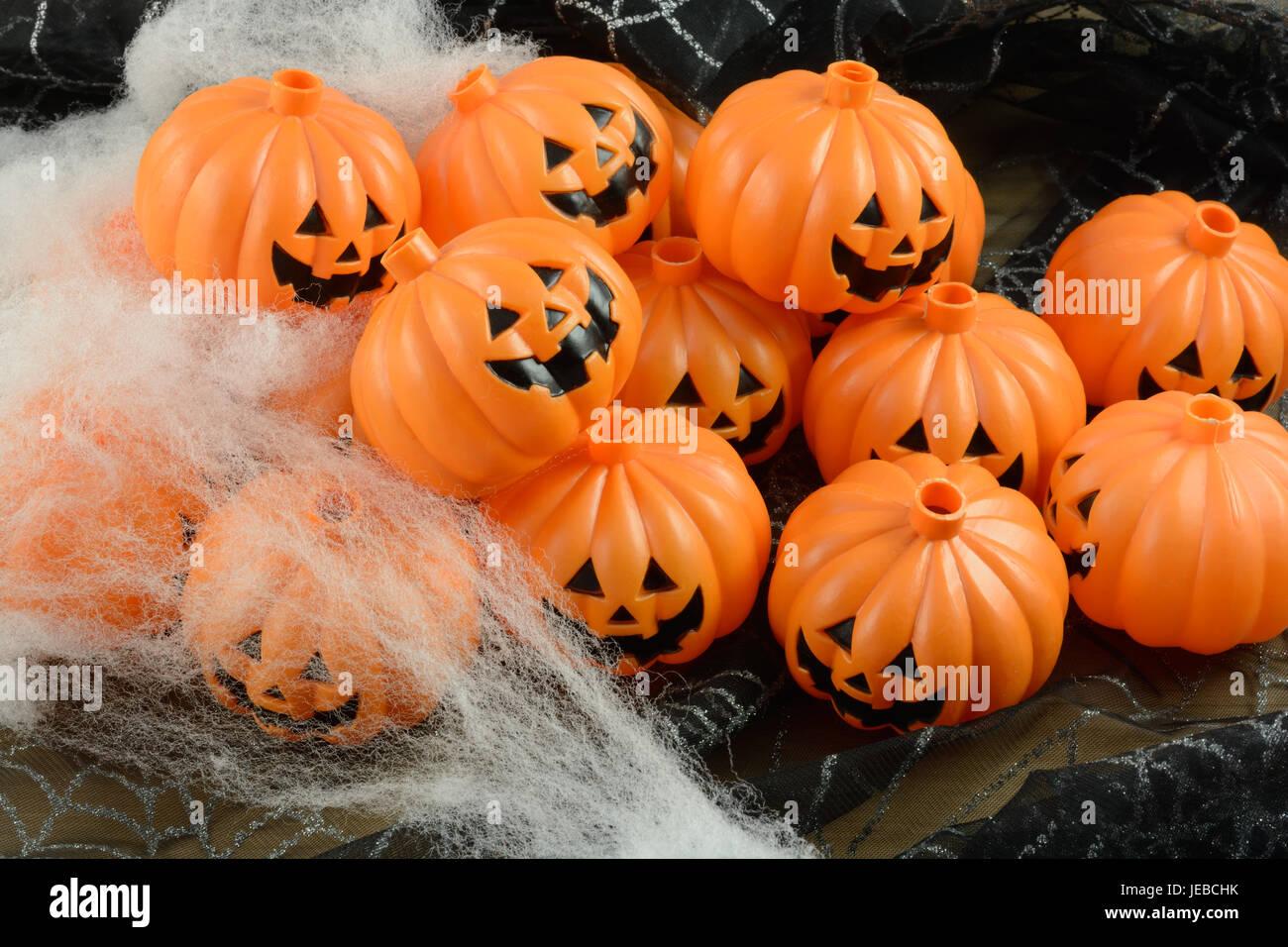 plastic jack o lanterns halloween decorations with spider cobweb decorations