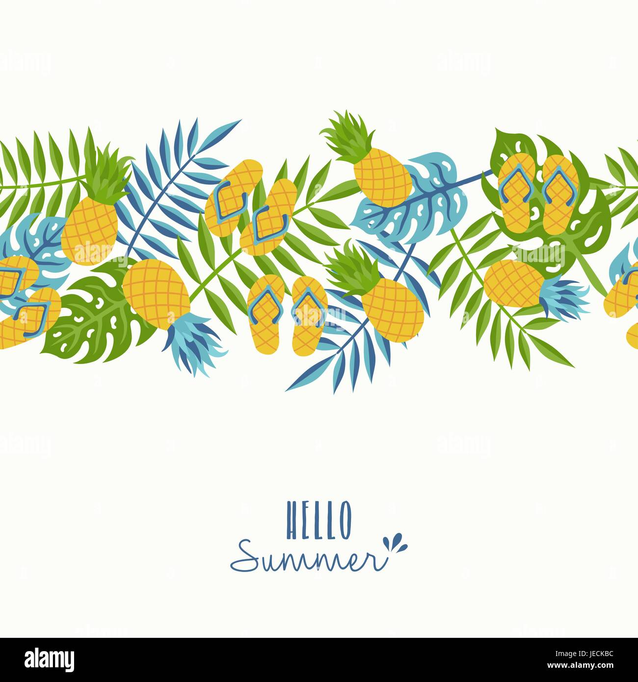 Happy Summer Greeting Card Design With Tropical Seamless Pattern And  Typography Quote. Includes Pineapple, Palm Leaf, Flip Flops. EPS10 Vector