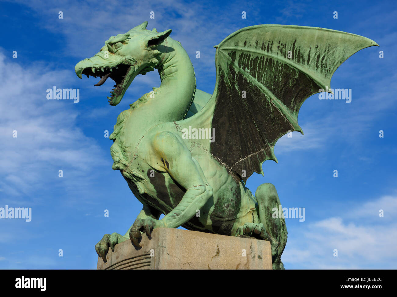 Roaring winged dragon sculpture of green sheet copper symbol of roaring winged dragon sculpture of green sheet copper symbol of ljubljana capital city of slovenia on the dragon bridge over the ljubljanica river biocorpaavc Image collections