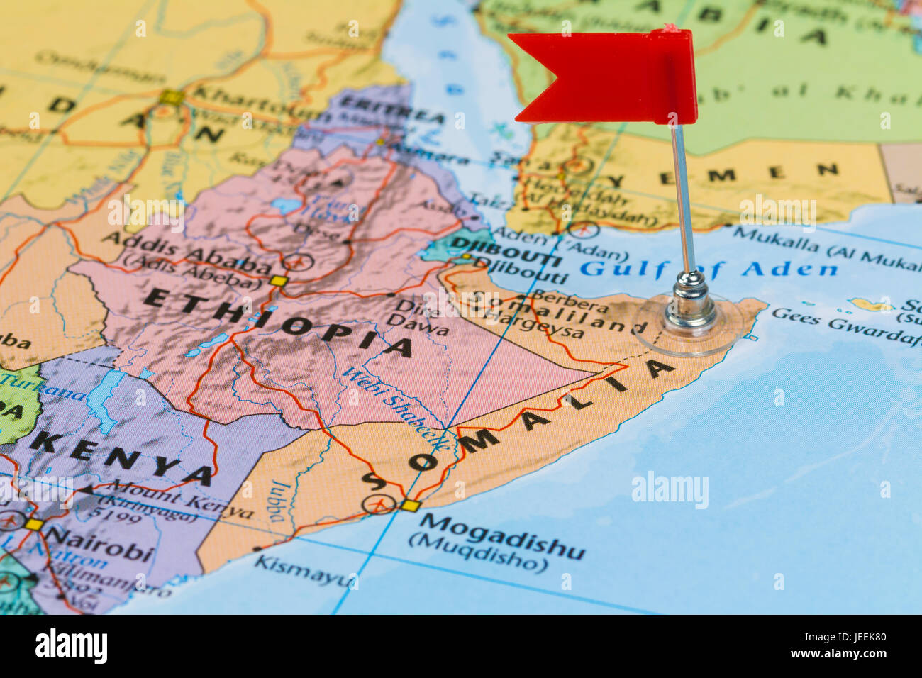 Africa Map Horn Of Africa%0A Mogadishu On World Map Photo of Somalia marked by red flag in holder  Country on African