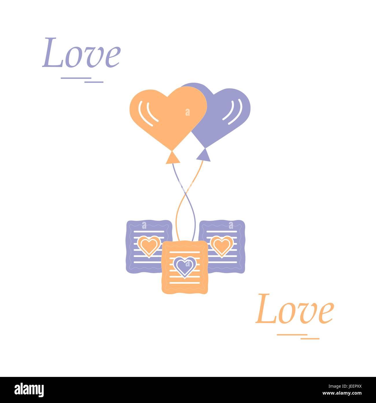 Cute vector illustration of love symbols heart air balloon icon cute vector illustration of love symbols heart air balloon icon and three cookies romantic biocorpaavc