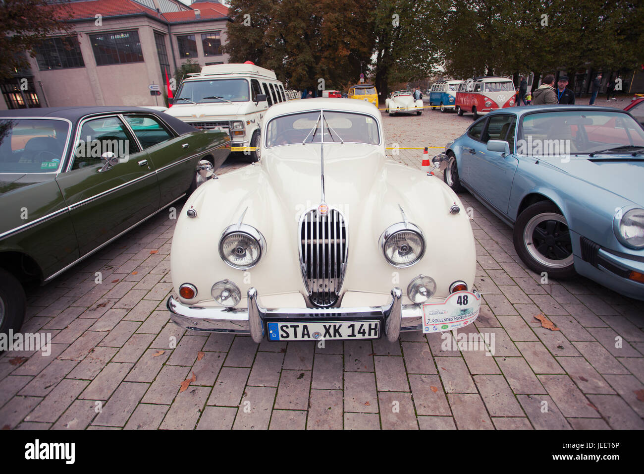 Classic Jaguar Coupe Car At Old Timer Car Show, Munich, Germany