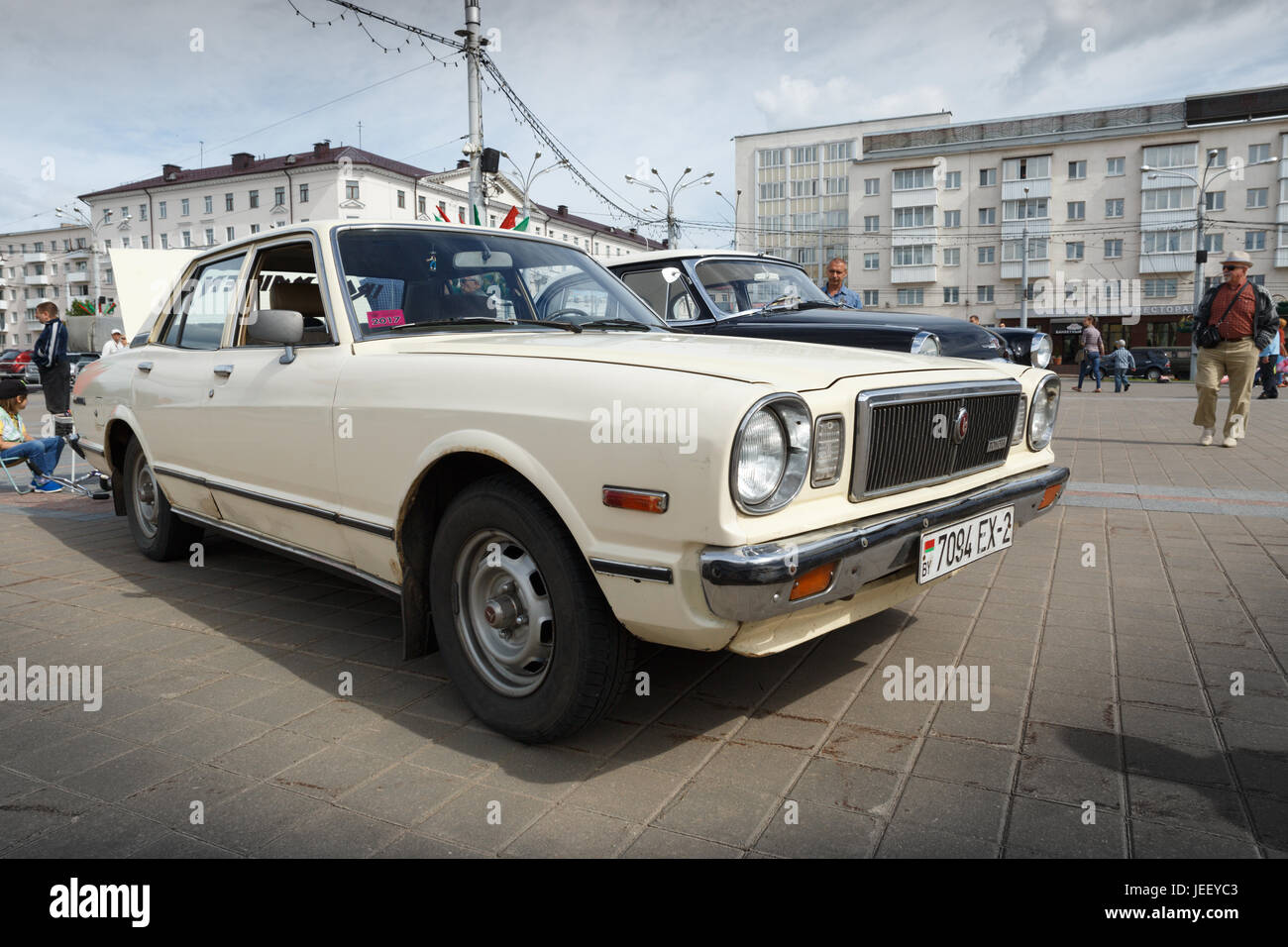 Old White Toyota at exibition of vintage cars. Summer. Belarus ...