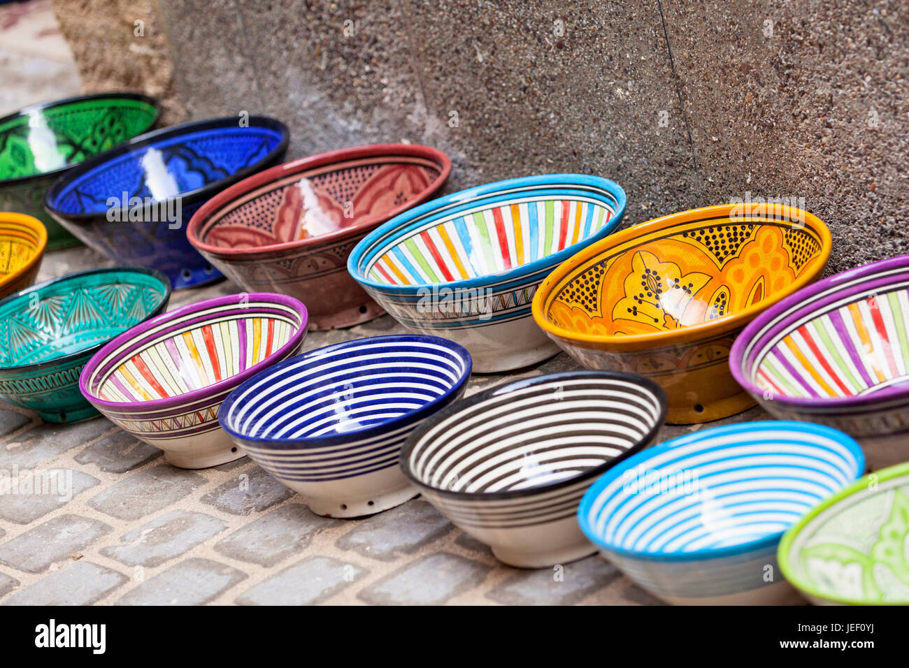 Traditional moroccan bowls stock photos traditional moroccan moroccan bowls pottery souvenirs for sale in the souks of the old medina essaouira reviewsmspy