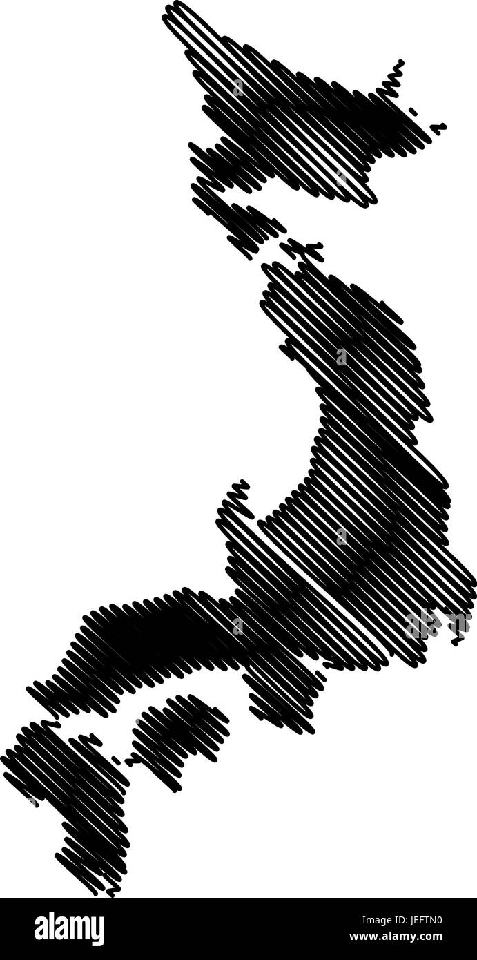 Japan Map Vector Illustration Scribble Sketch Japan Stock Vector - Japan map sketch