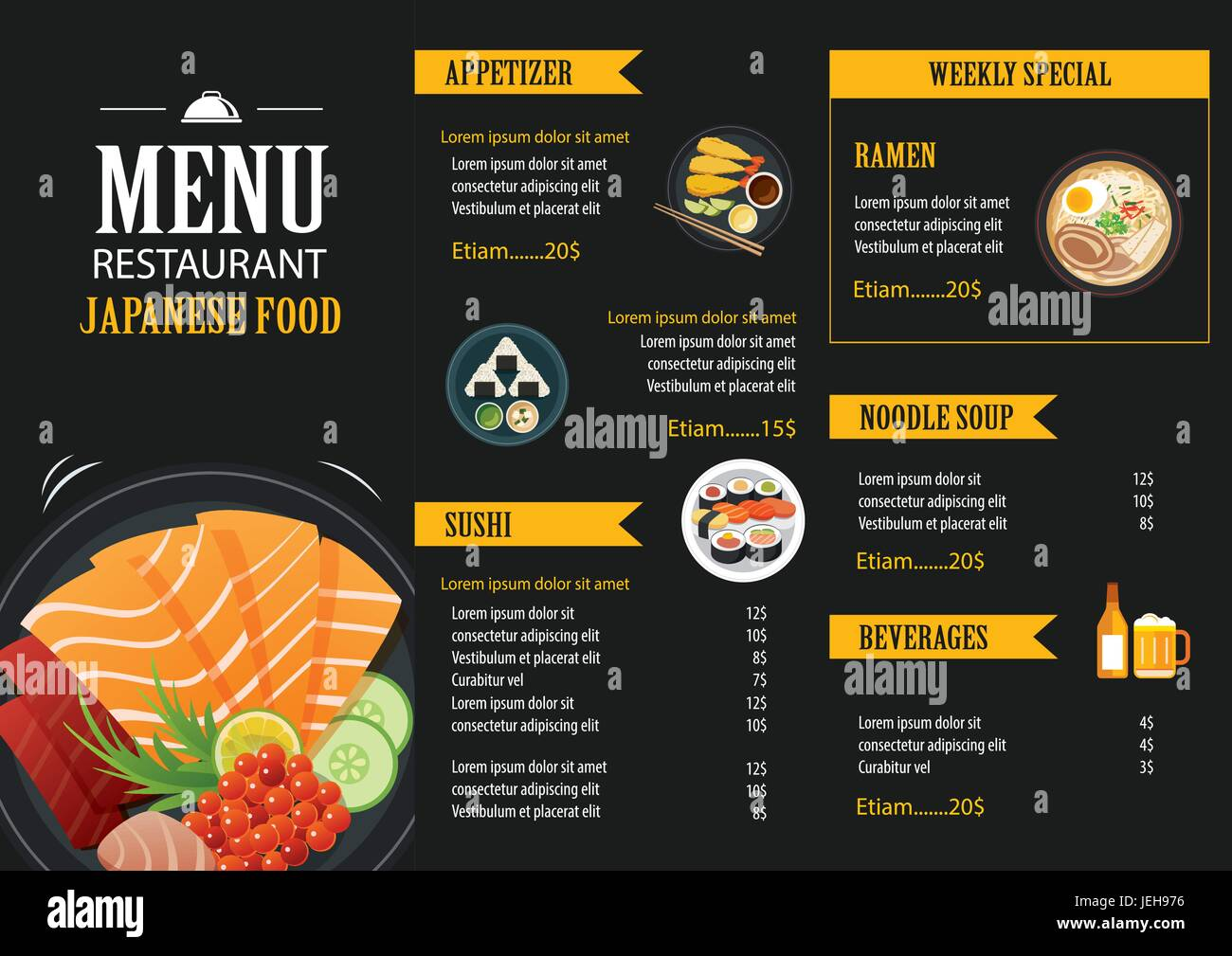 Japanese food menu restaurant brochure design template for Artistic cuisine menu