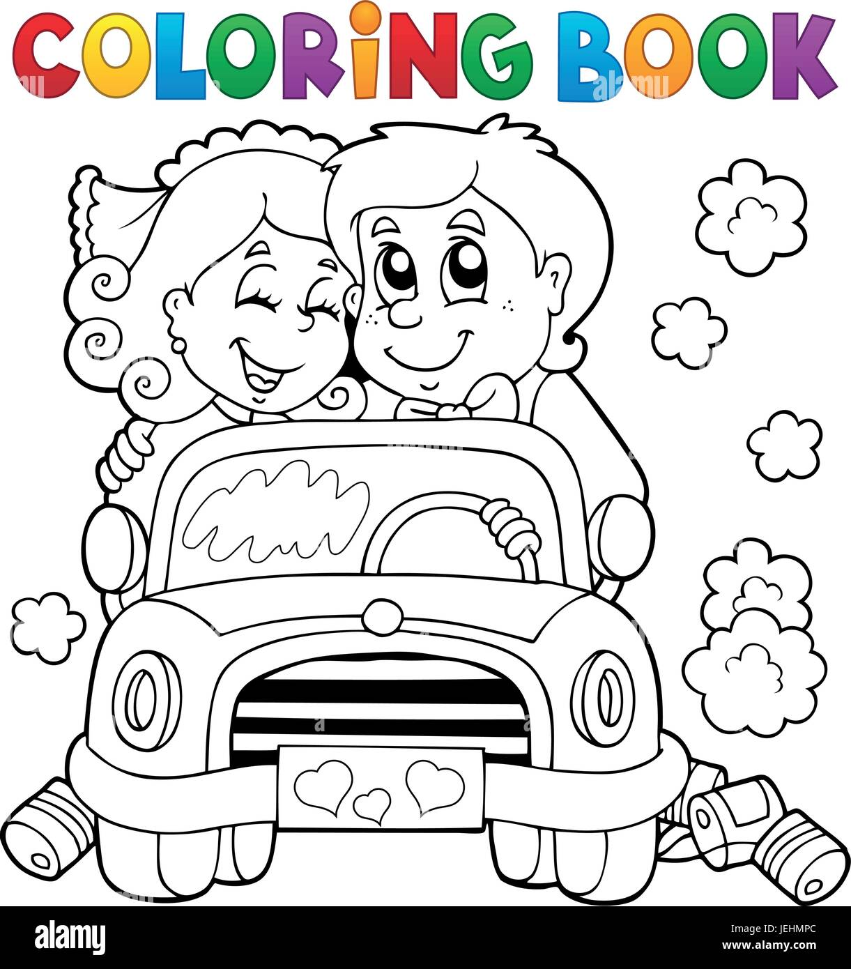 Coloring book wedding pictures - Coloring Book Wedding Car Eps10 Vector Illustration