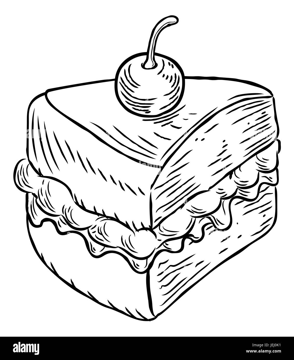 A jam and cream Victoria sponge cake slice with cherry, hand draw ... for Drawing Cake Slice  1lp1fsj