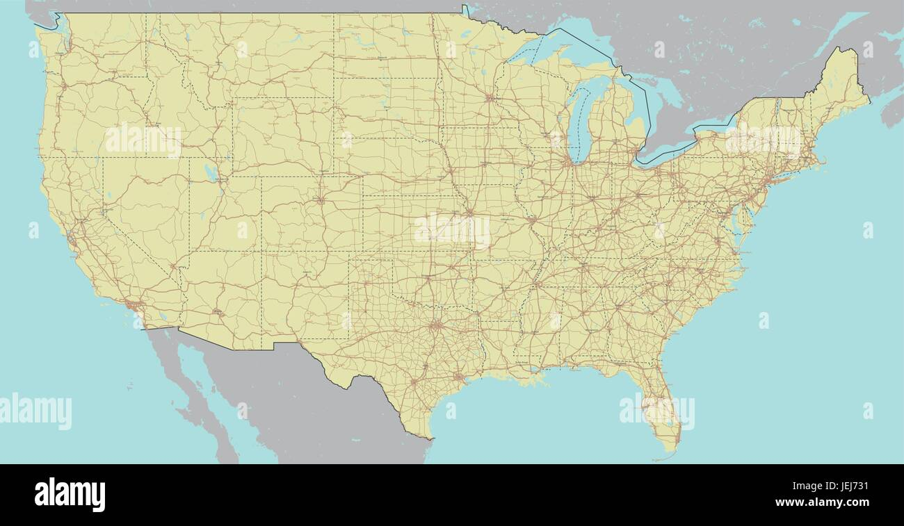 vector high detailed accurate exact united states of america american road motorway map with labeling geographic pastel administrative editable c
