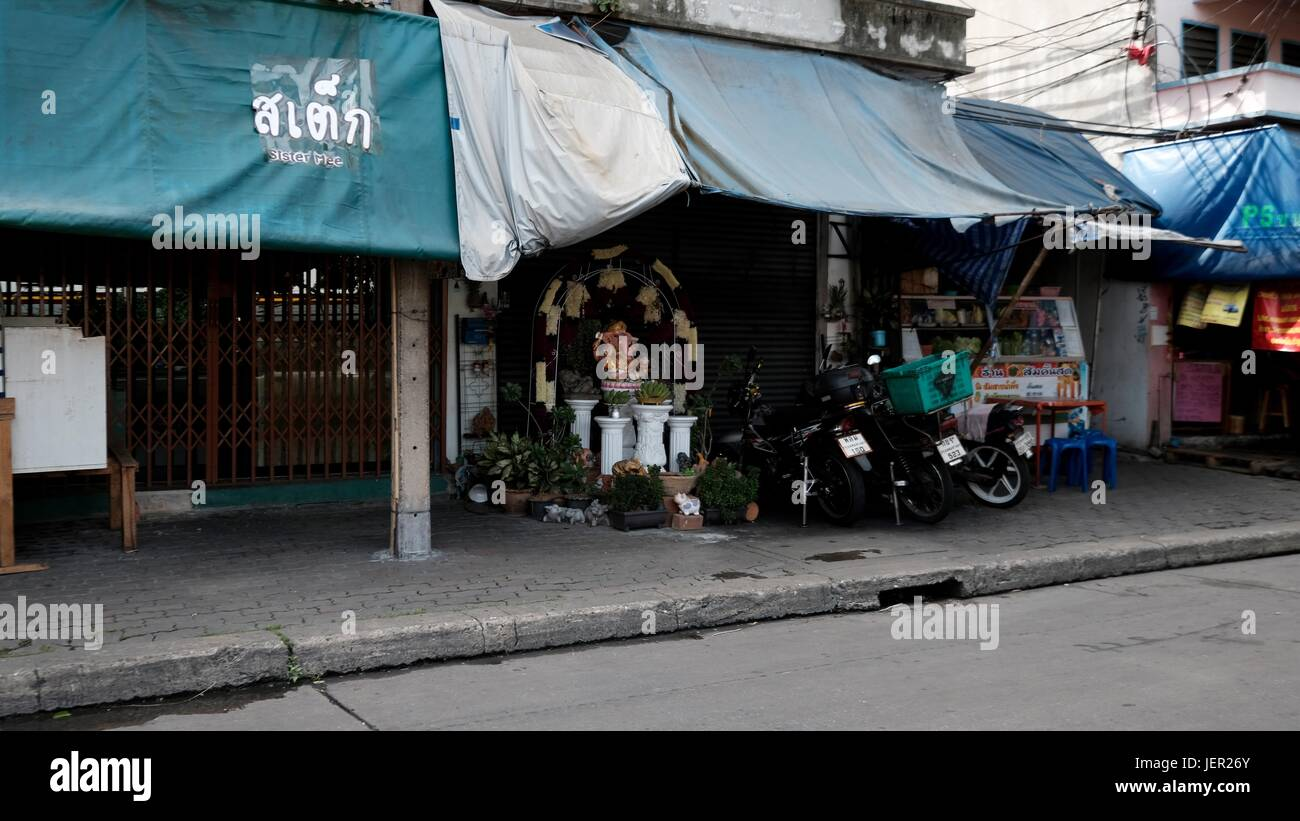Retail Shop Storefront House With Awnings On Thanon Rong Mueang Bangkok Thailand