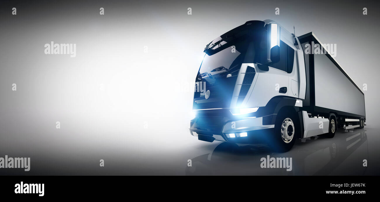 Professional cargo delivery truck with long trailer banner professional cargo delivery truck with long trailer banner business card composition generic brandless vehicle design 3d rendering colourmoves