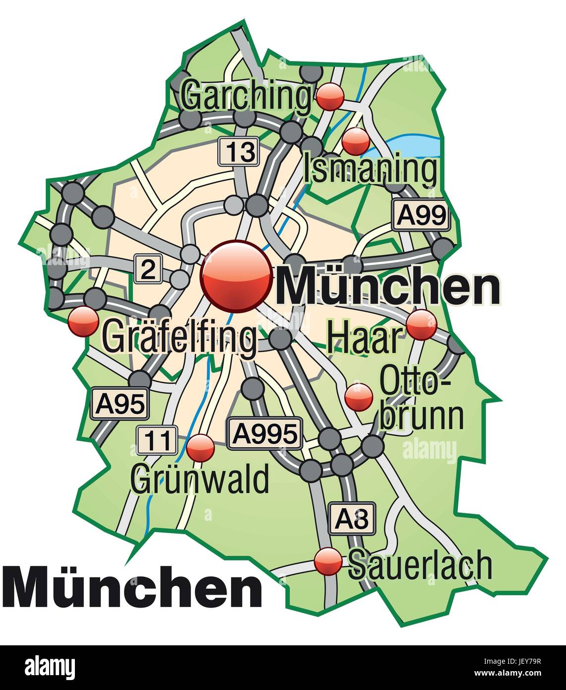 map of munich with transport network in pastel green Stock Vector