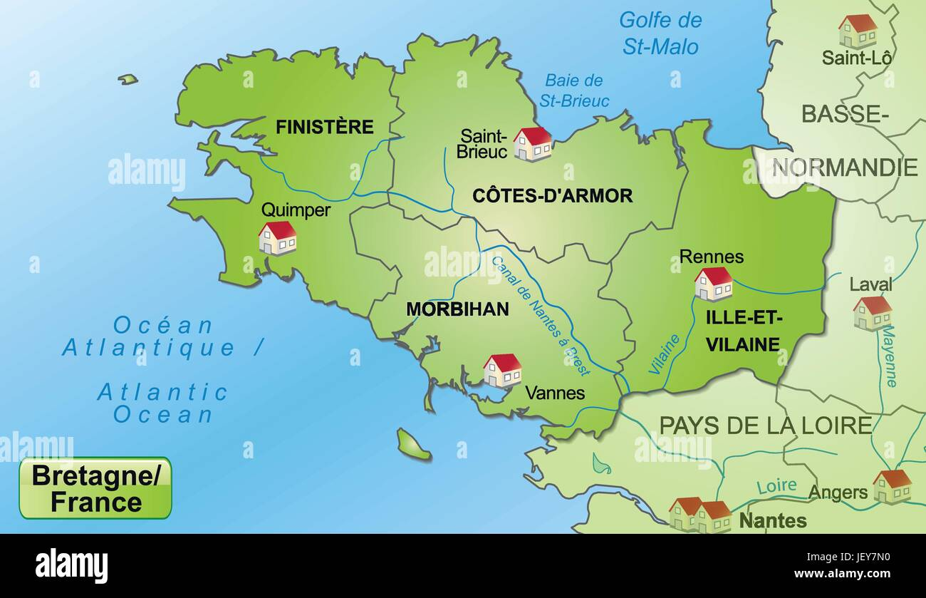 map of brittany with limits in a pictorial representation Stock