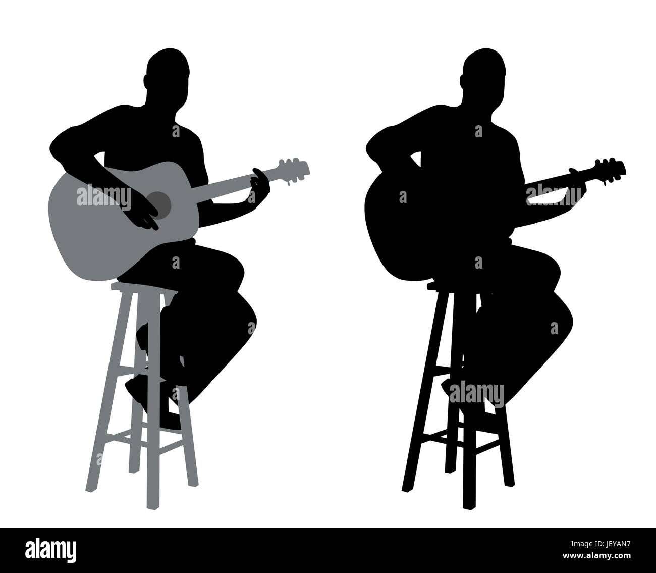 Guitar player sitting on a bar stool playing acoustic guitar  sc 1 st  Alamy & Guitar player sitting on a bar stool playing acoustic guitar Stock ... islam-shia.org
