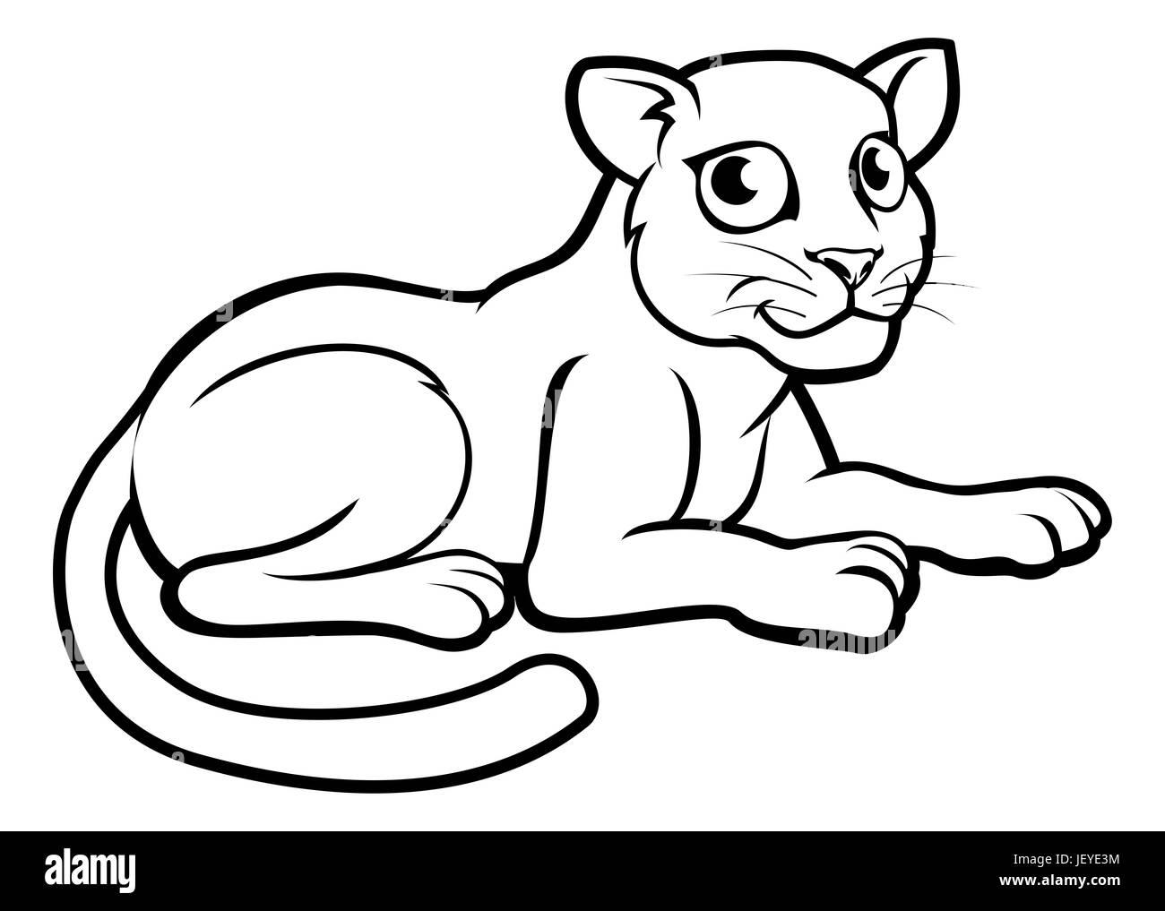 a leopard jaguar or panther cartoon character outline coloring illustration - Outline Cartoon Pictures