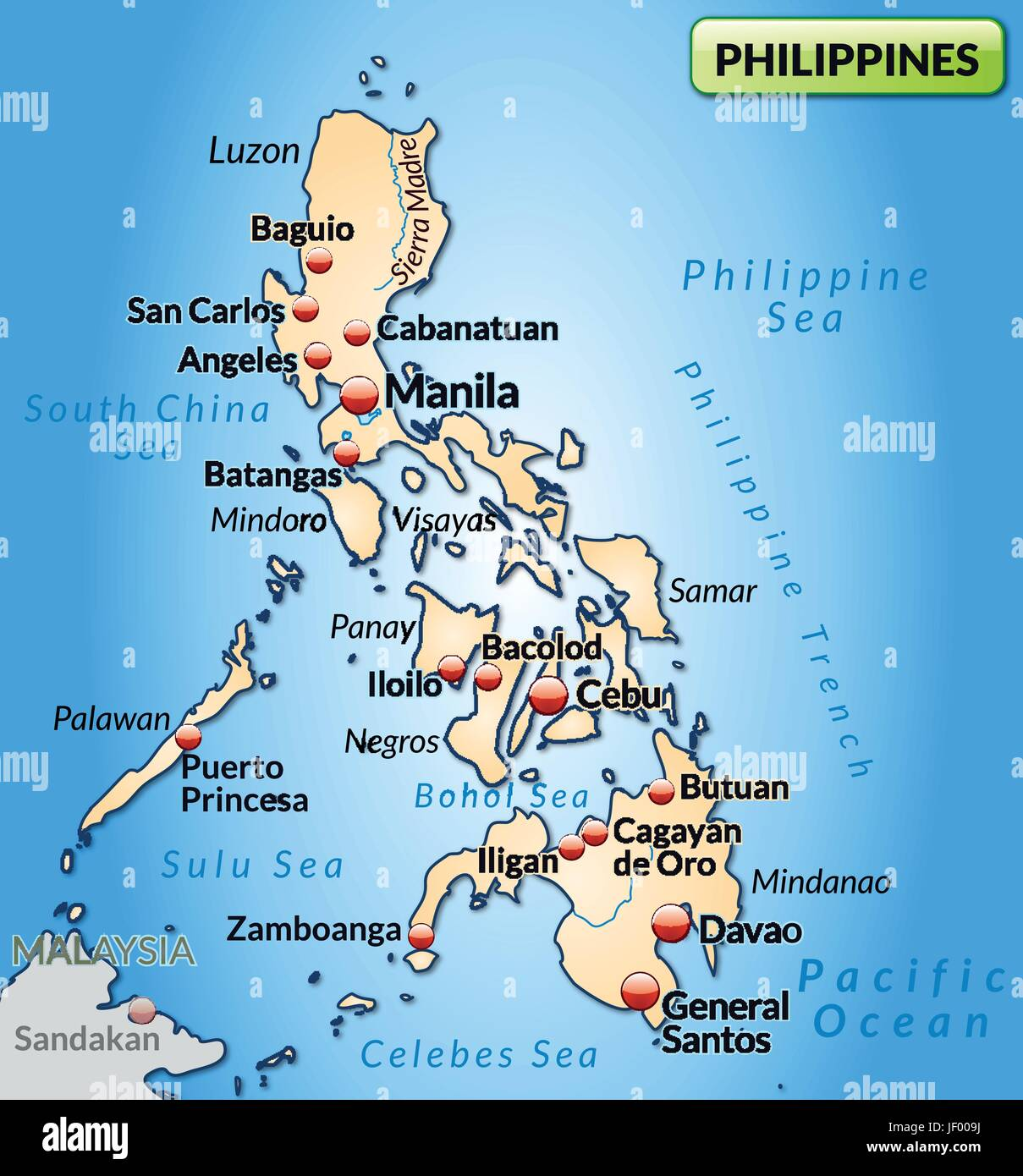 map of the philippines as an overview map in pastelorange Stock