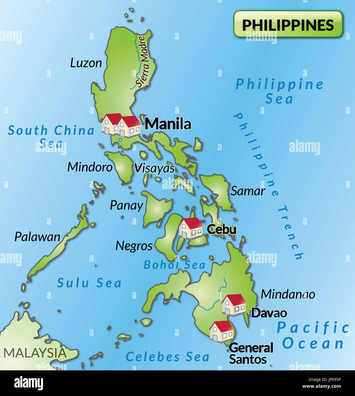 map of the philippines as an infographic in green Stock Vector Art