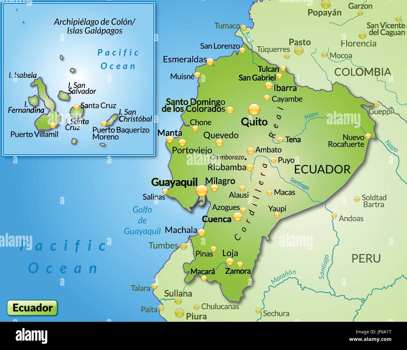 Ecuador In South America As A Map With All Important Topographical - Ecuador map