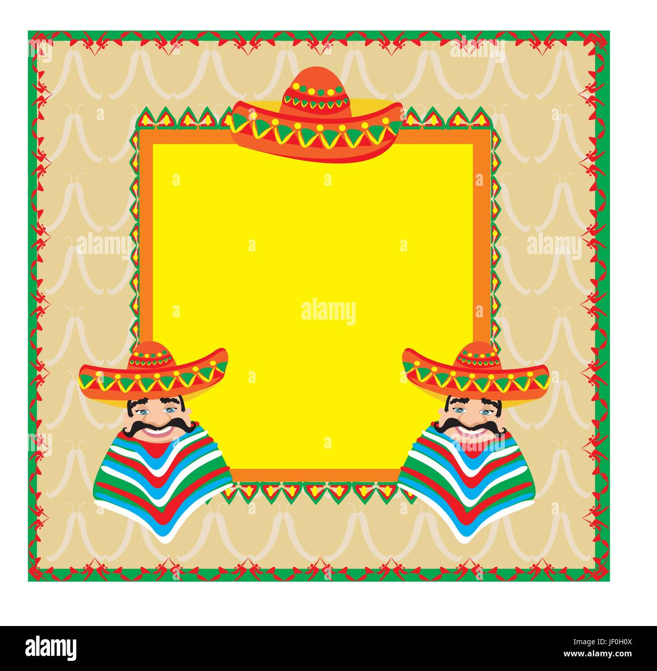 stock vector mexican frame with man in a sombrero - Mexican Frame