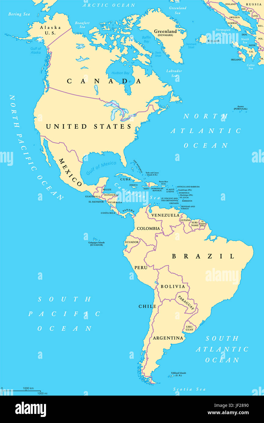 The Americas North and South America political map with