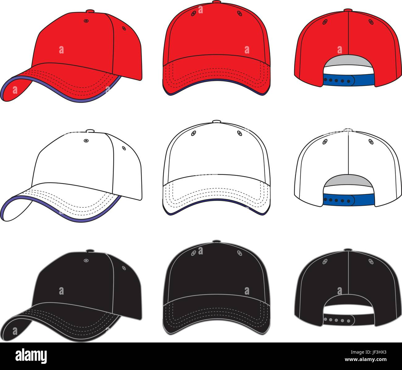 baseball trucker hat cap template front back and side stock vector