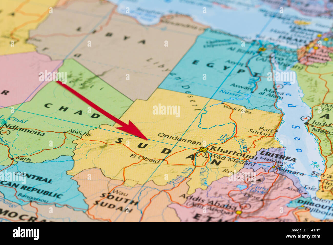 Photo Of Sudan Country Indicated By Red Arrow Country On African - What continent is sudan in