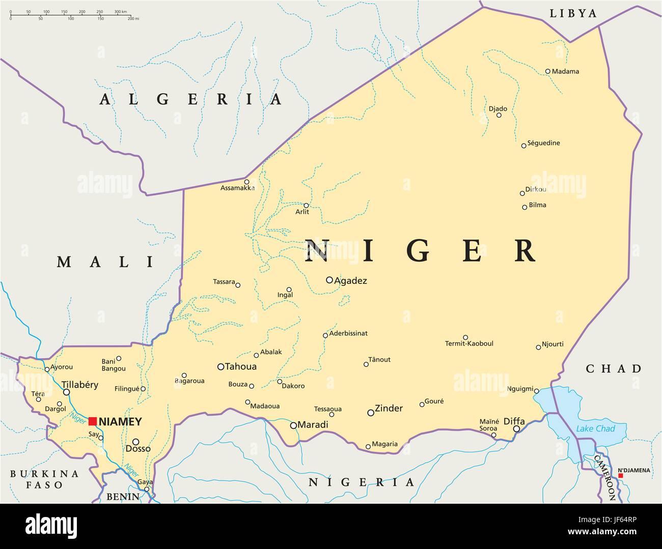 Niger Map Atlas Map Of The World Political Desert Wasteland - Niger map