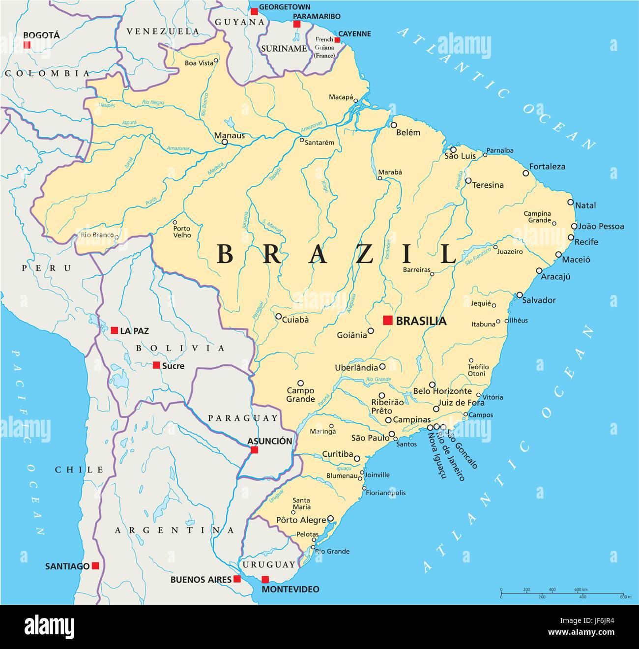 Brazil Political Map Stock Vector Art Illustration Vector Image - Brazil political map