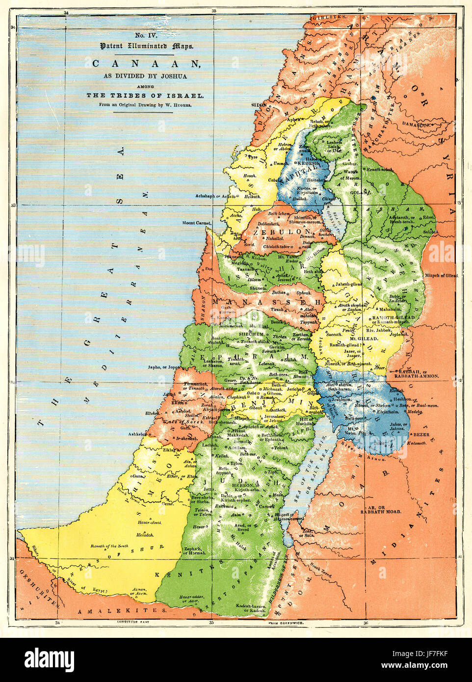 Map showing lands of canaan and territories divided among the map showing lands of canaan and territories divided among the tribes of israel from original drawing by william hughes sciox Choice Image