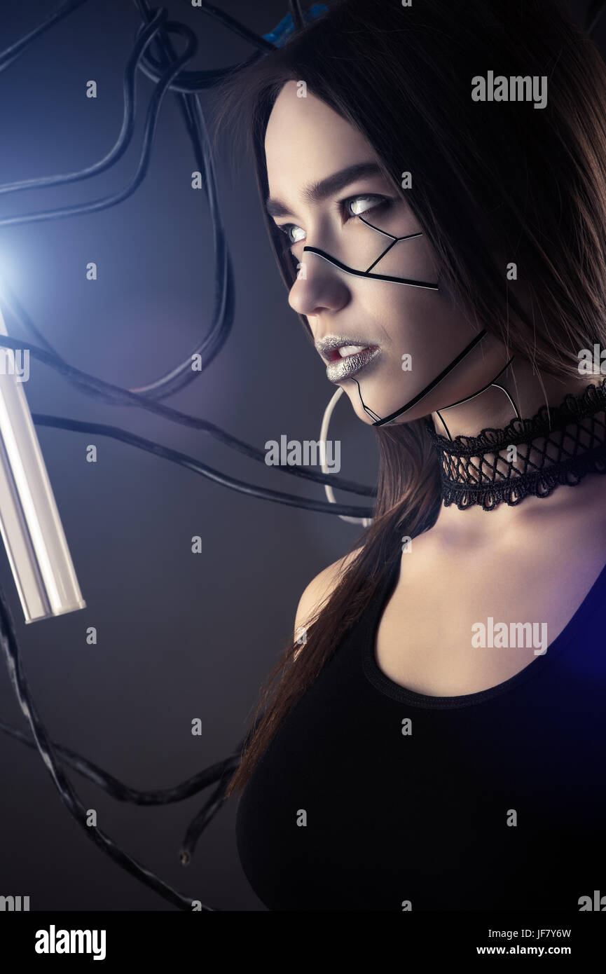 beautiful profile face robot girl in style cyberpunk with wires ...