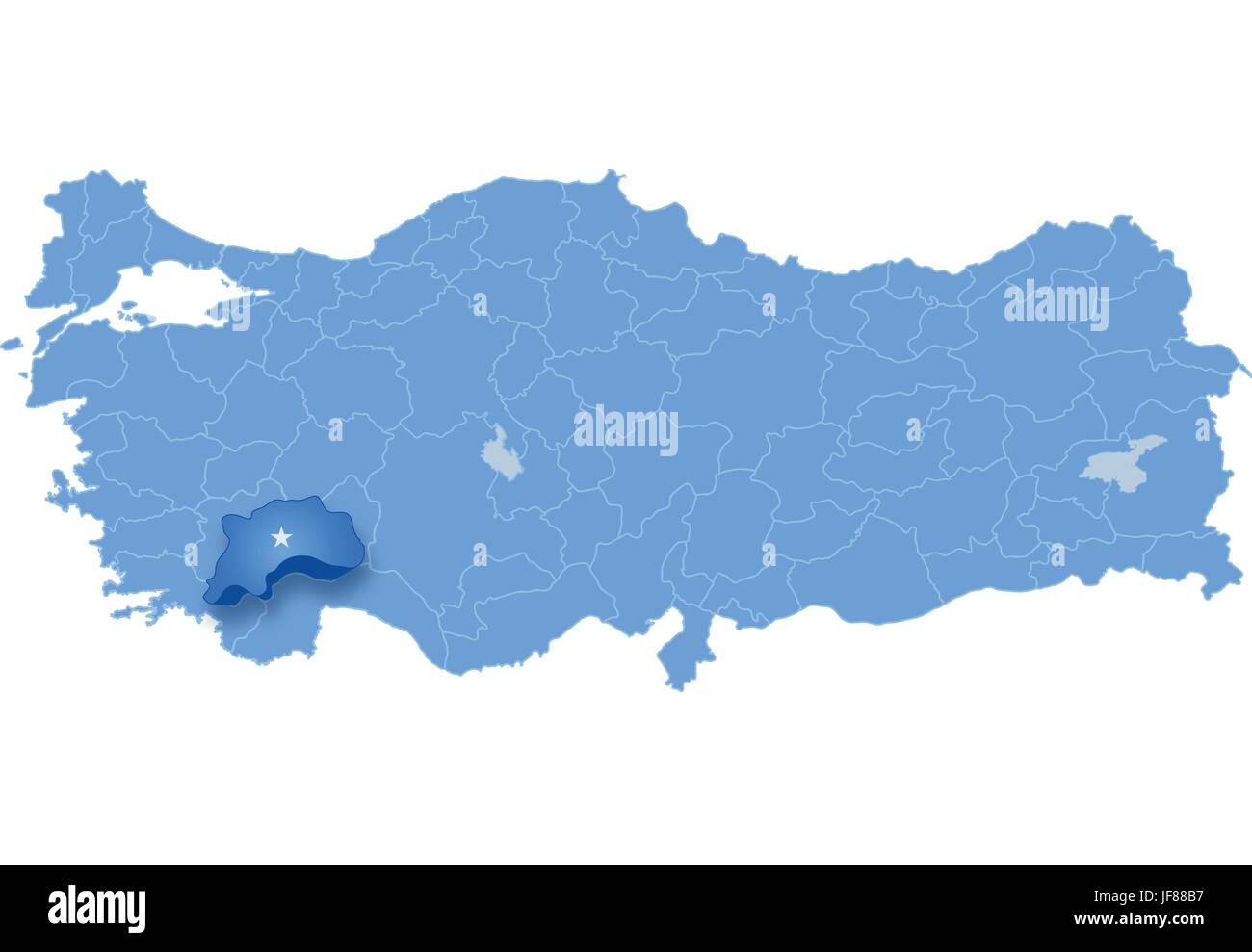 Map of Turkey Burdur Stock Vector Art Illustration Vector Image