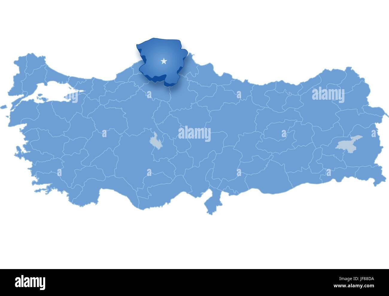 Map of Turkey Kastamonu Stock Vector Art Illustration Vector