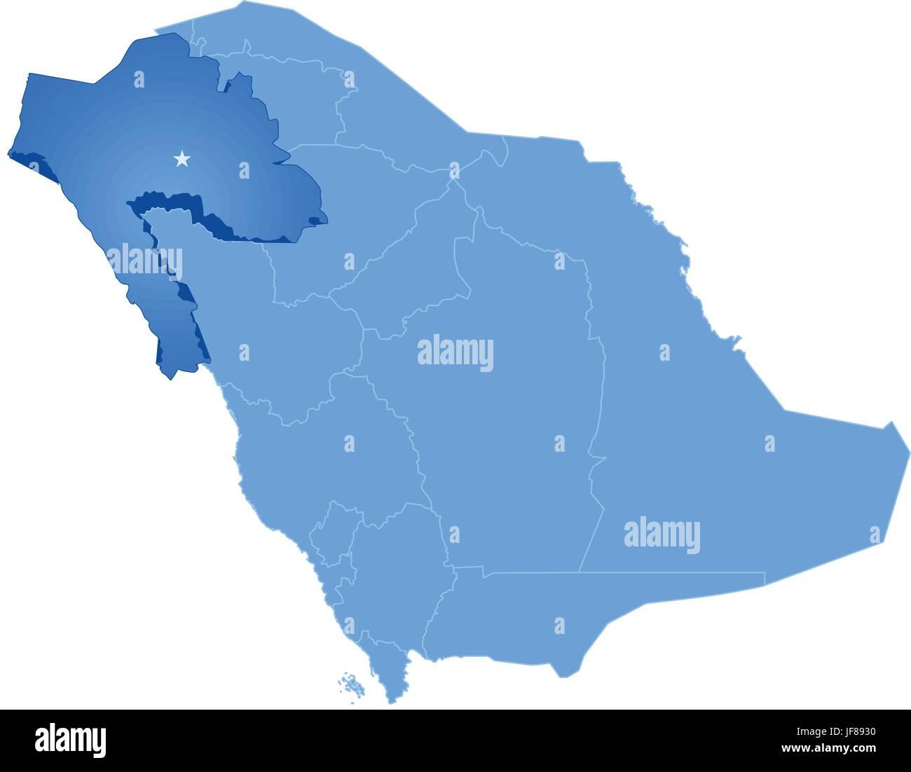 Map of Saudi Arabia the region Tabuk Stock Vector Art