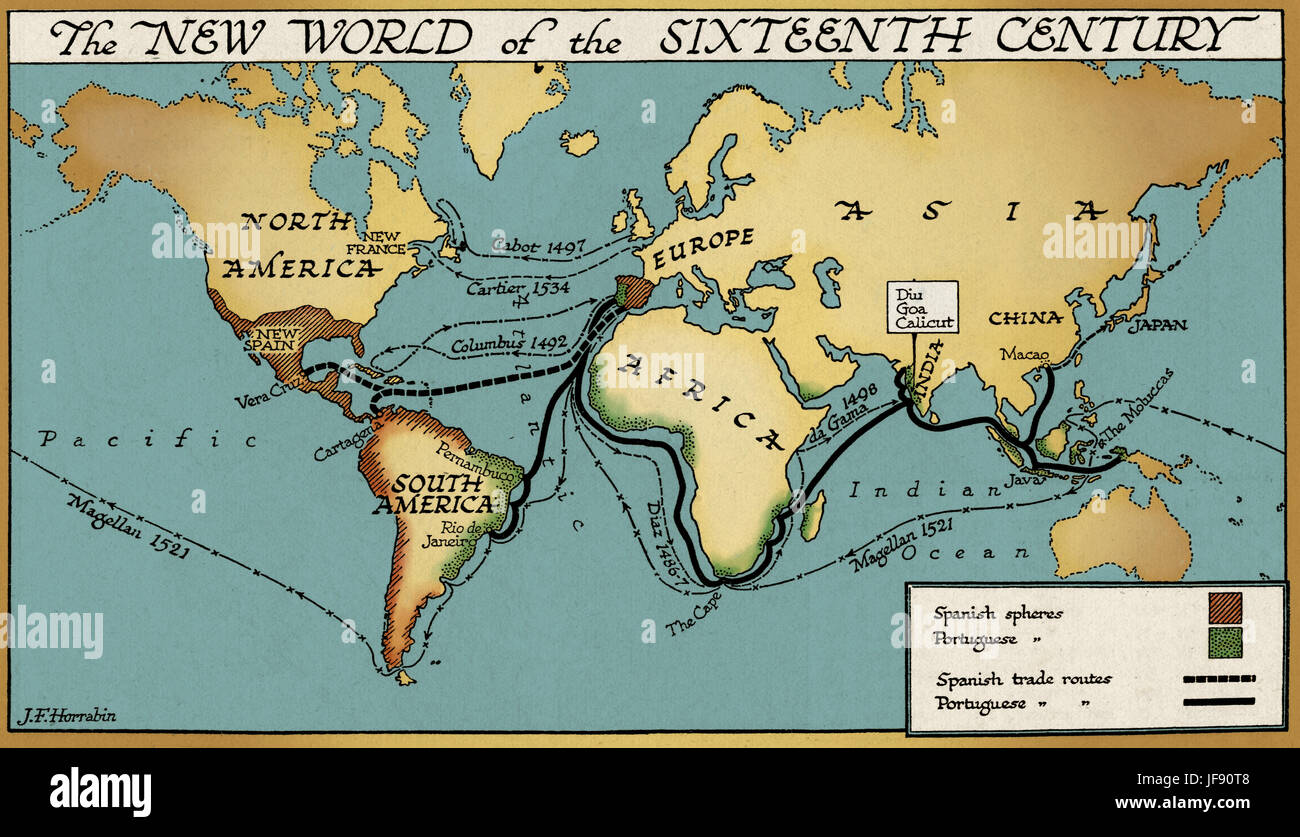 The new world of the 16th century map showing spanish and the new world of the 16th century map showing spanish and portuguese colonies and trade routes gumiabroncs Image collections