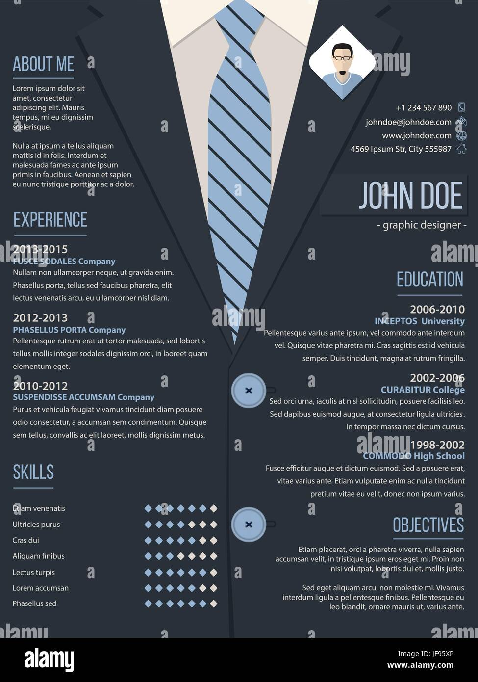cool resume cv template with business suit background - Cool Resume Template