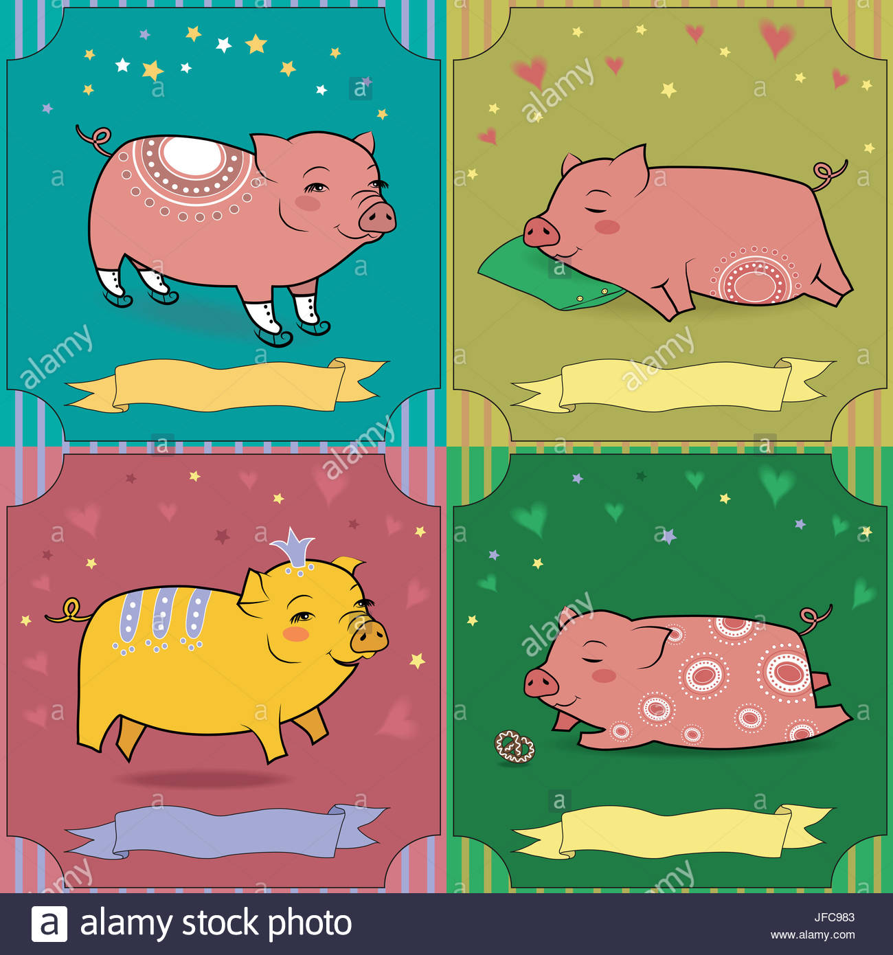 Set of cartoon pigs vintage greeting cards stock photo 147173491 vintage greeting cards kristyandbryce Image collections
