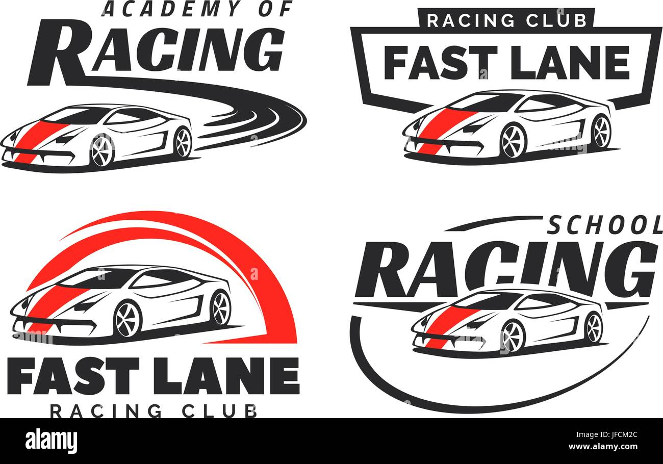 Set Of Sport Car Racing Logo, Emblems And Badges Isolated On White  Background. Racing School Or Academy Design Elements