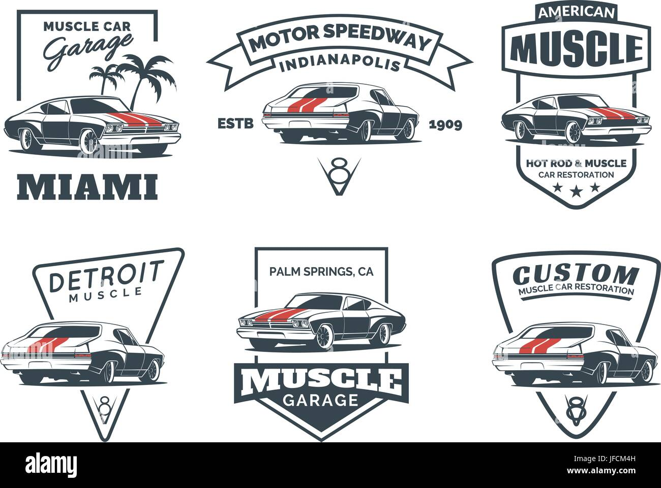 Set Of Classic Muscle Car Logo Emblems Badges And Icons Isolated - Muscle car repair