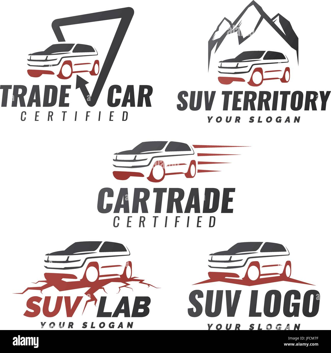 Set Of Suv Car Service Logo Templates Automotive Repair And