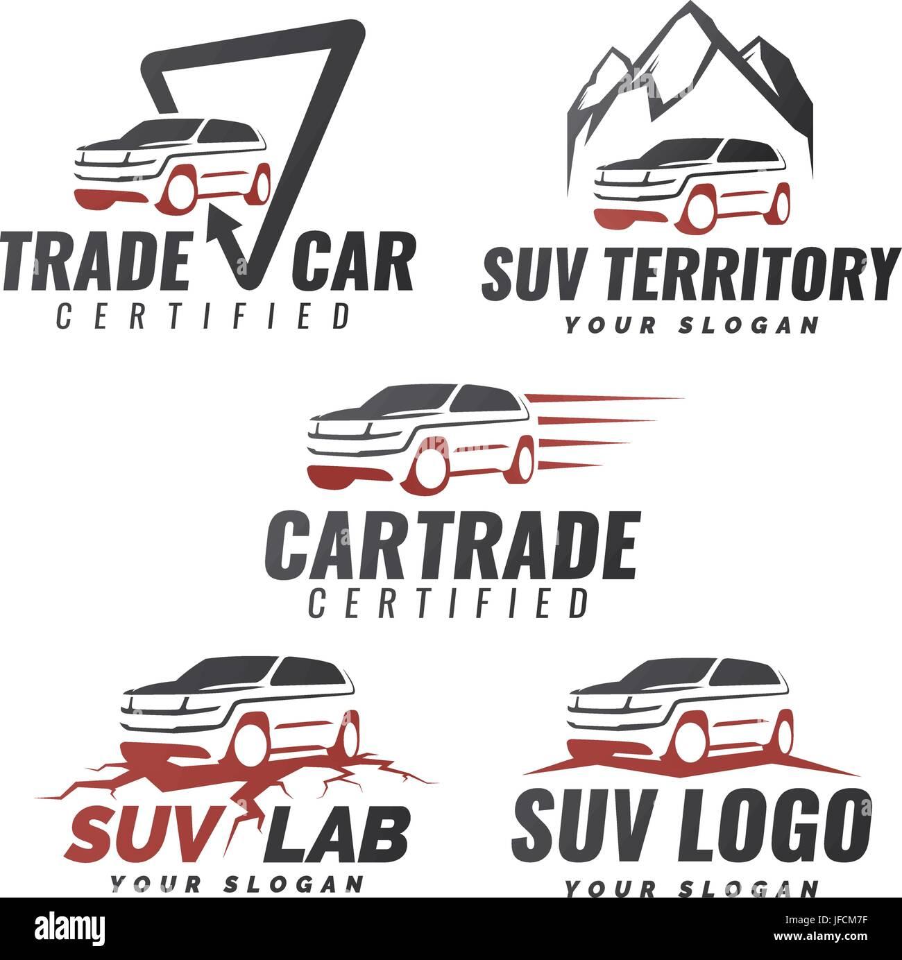 Set Of Suv Car Service Logo Templates Automotive Repair And