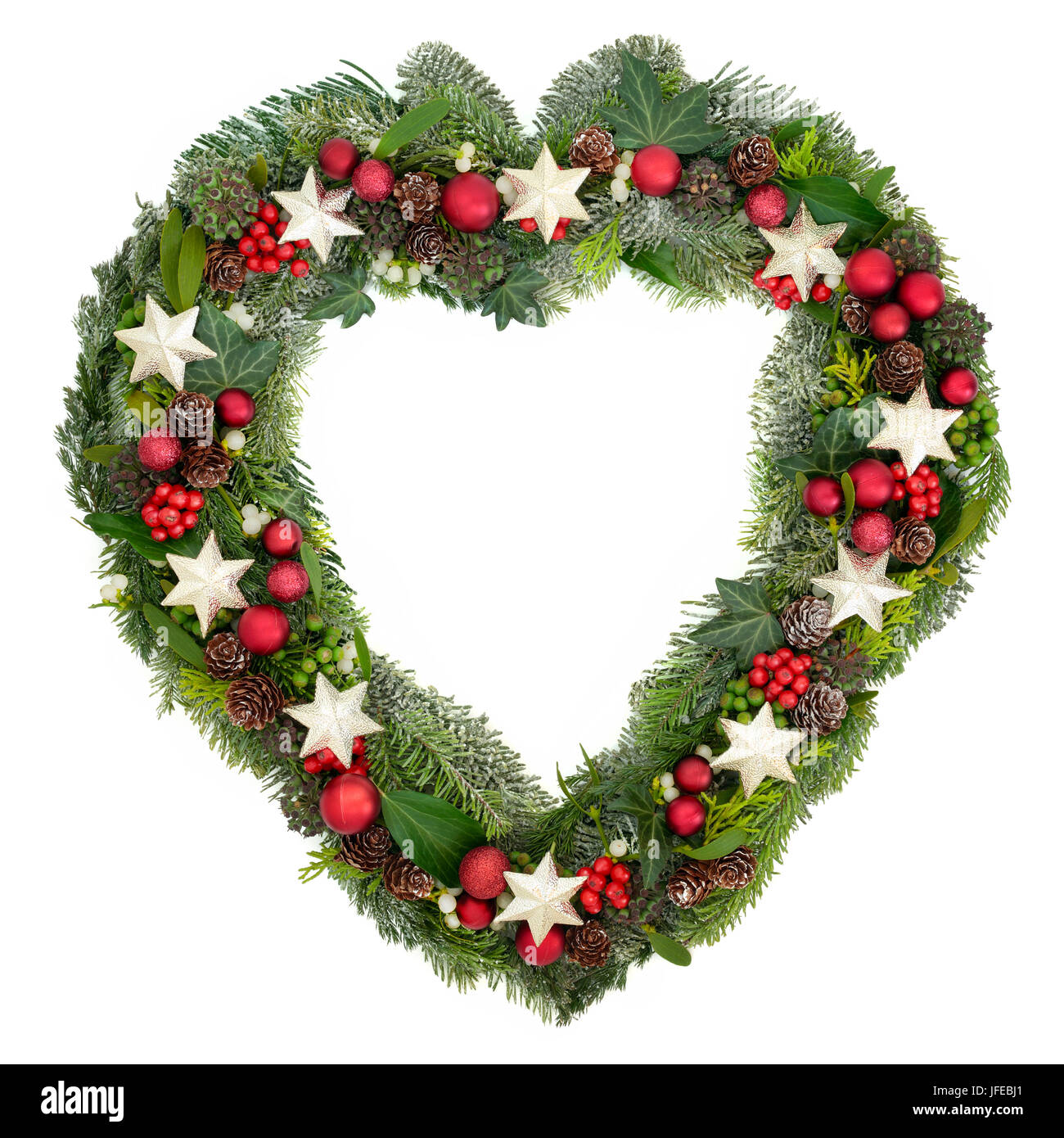 Heart shaped christmas wreath with star and bauble