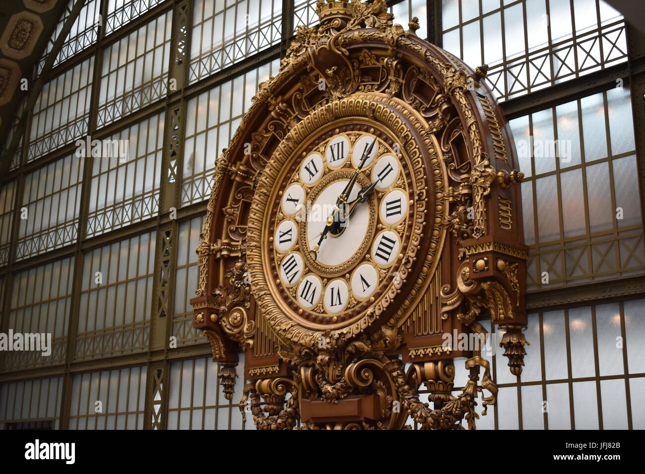 old train station clock in the musee de orsay in paris france stock photo royalty free image. Black Bedroom Furniture Sets. Home Design Ideas